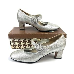 VTG60s Maling's Silver Metallic Jeweled Mary Janes